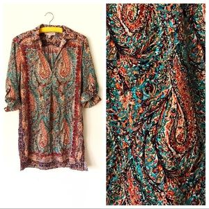 Philosophy Colorful Rainbow Paisley Tunic Top